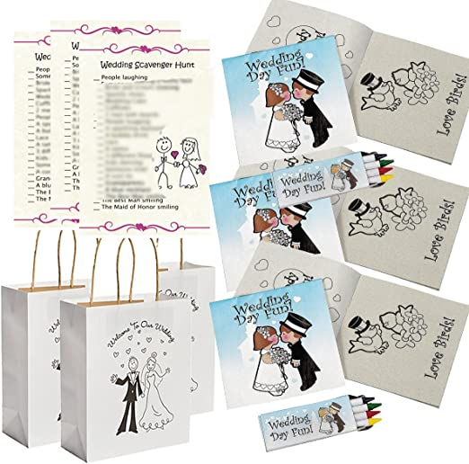 - Amazon.com: Wedding Activities For Kids - Individually Packaged Wedding  Coloring Books And Crayons (12), Wedding Favor Bags (12) And Wedding  Scavenger Hunt Sheets (25): Toys & Games