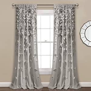 "Lush Decor Riley Curtain Sheer Ruffled Textured Bow Window Panel for Living, Dining Room, Bedroom (Single) 84"" x 54"" Light Gray, L"