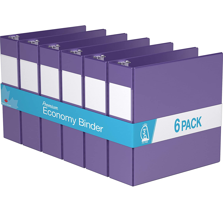 6 Pack Premium Economy Angle D Ring Purple, 2 Binder