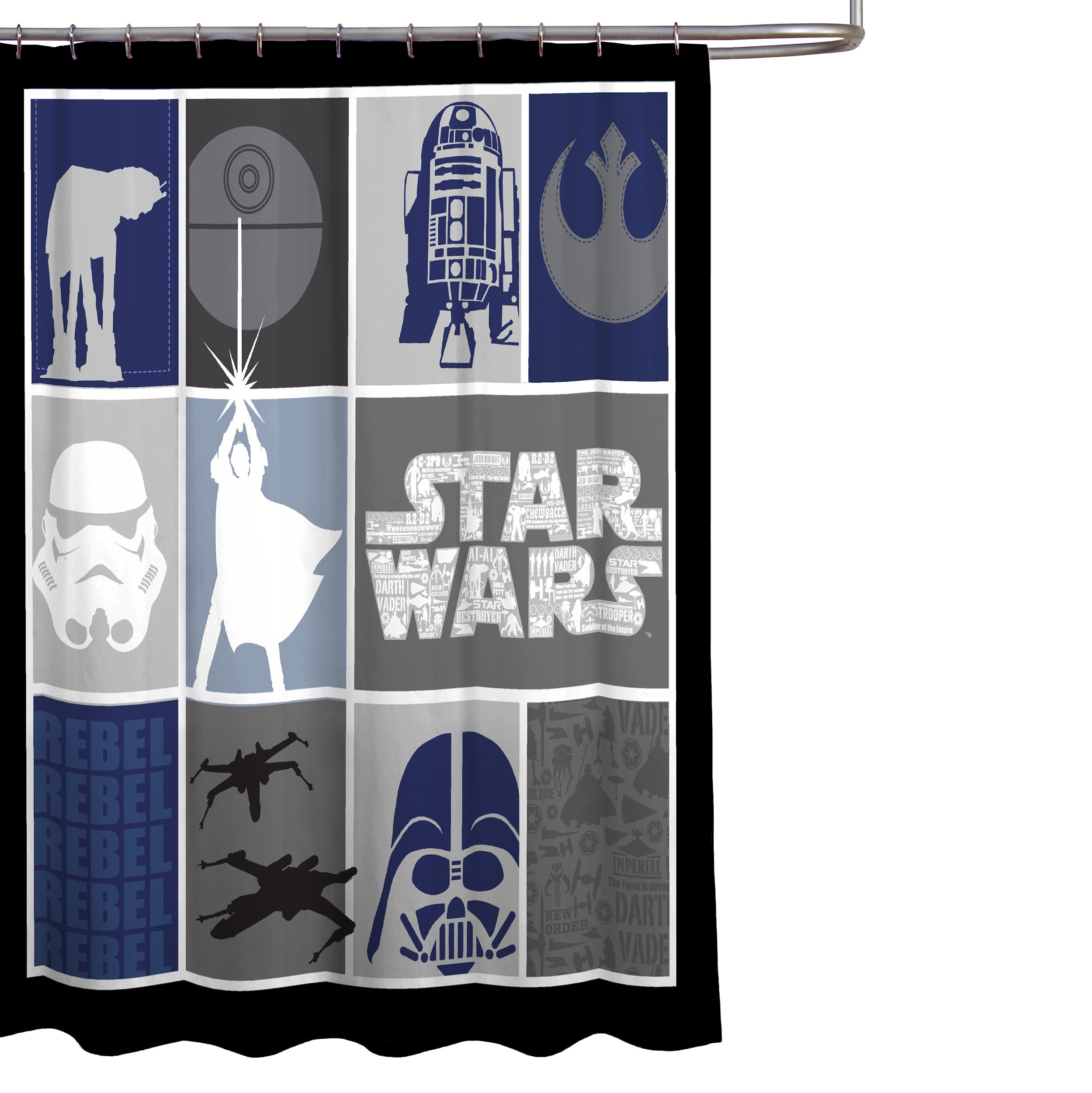 Star Wars Classic Quilt Microfiber 70 X 72 Fabric Shower Curtain