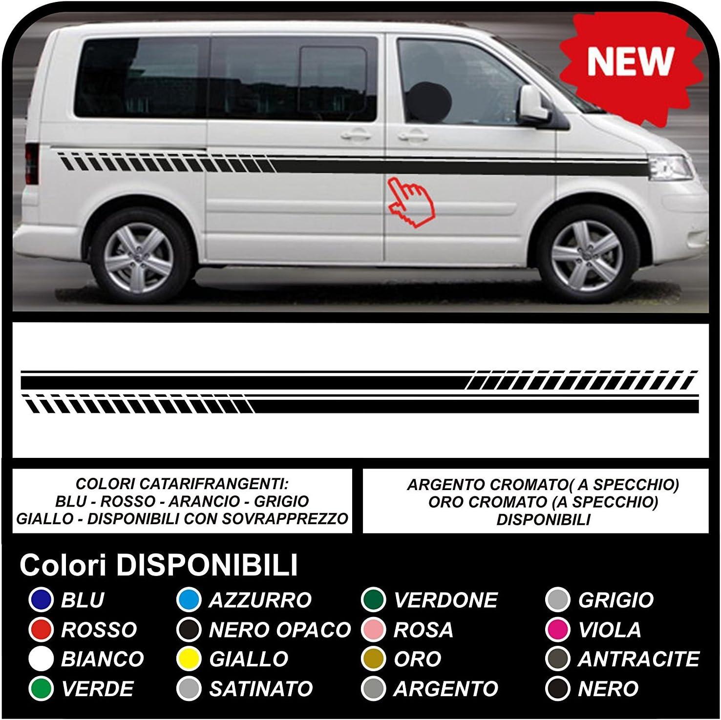 Pegatinas Tiras laterales franjas de coche bandas laterales pegatina conjunto van (NEGRO MATE): Amazon.es: Coche y moto
