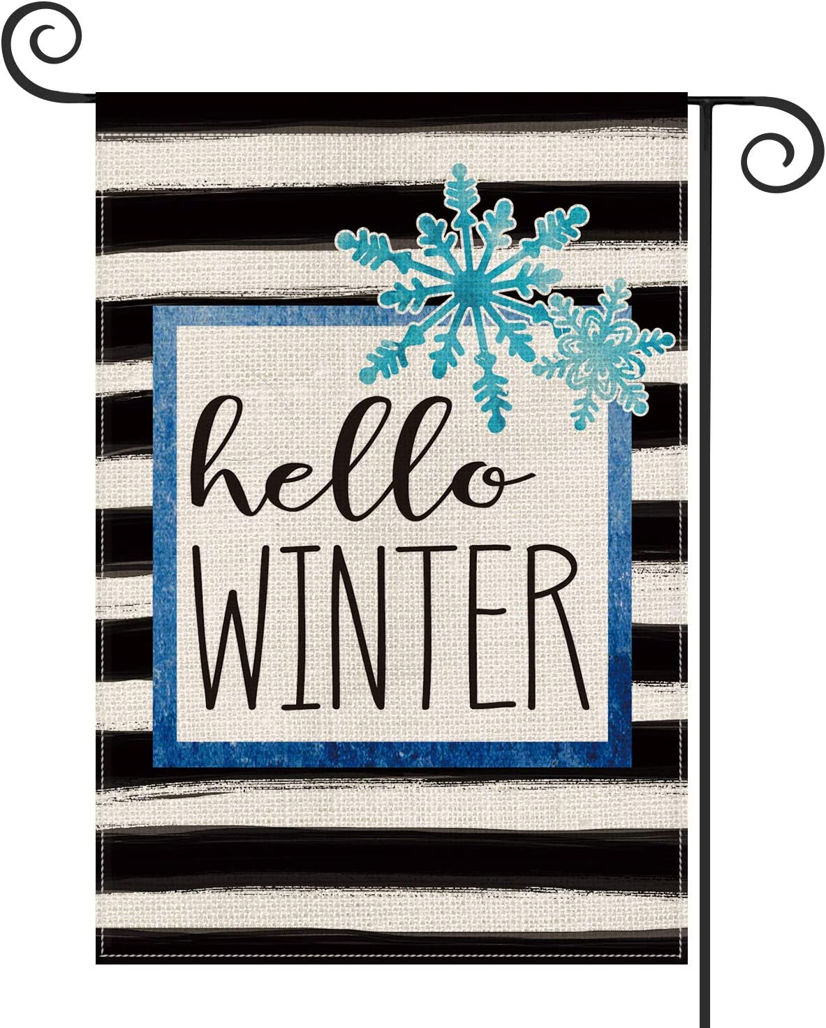 AVOIN Watercolor Stripe Hello Winter Snowflake Garden Flag Vertical Double Sized, Christmas Holiday Party Yard Outdoor Decoration 12.5 x 18 Inch