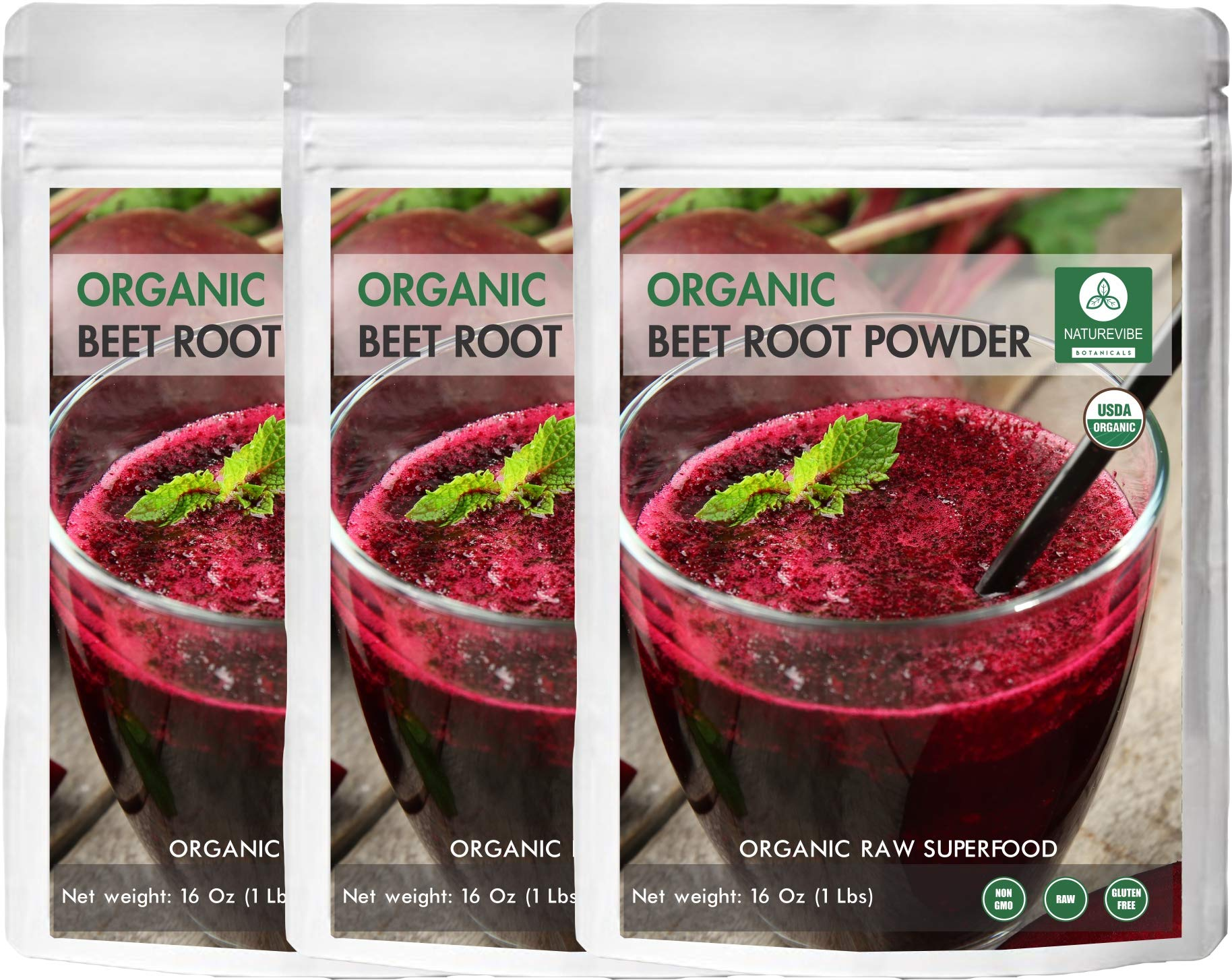 Organic Beet Root Powder, 3 lbs (3 Packs of 1lb Each) by Naturevibe Botanicals, Raw & Non-GMO | Nitric Oxide Booster | Boost Stamina and Increases Energy by Naturevibe Botanicals