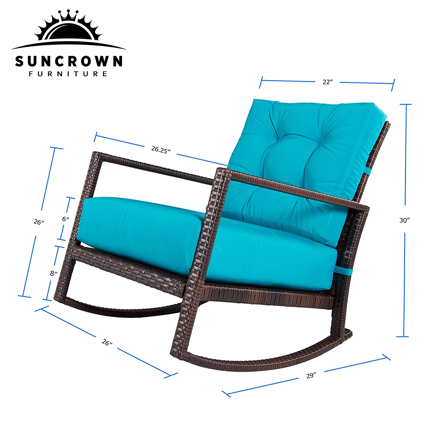 Amazon Suncrown Outdoor Furniture Teal Patio Rocking Chair