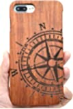 Holzsammlung® iPhone 7 Wooden Case - Rosewood Compass - Natural Handmade Bamboo / Wood Cover for Your Smartphone