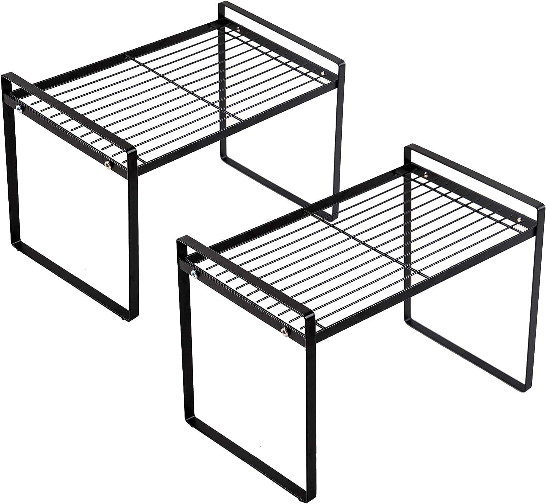 Shantton 2 Pack Kitchen Cabinet Shelf Counter Organizer Rack Pantry Storage Bathroom Bedroom Office Table Desk Space Saving Steel Frame Stackable Rust Resistant Non Slip Black – Tall