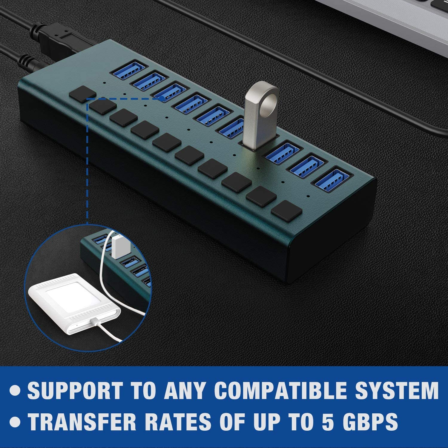 USB 3.0 Hub-10 Ports Powered USB Hub 60W USB Charging Hub with Individual On//Off Switches and 12V//4A Power Adapter and Light for PC Mobile HDD Flash Drive and More Computer Laptop Purple