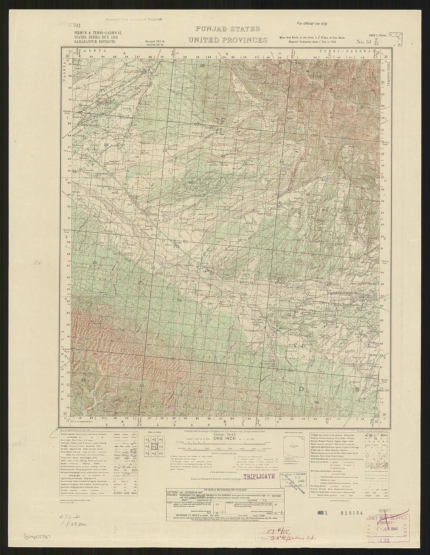 Amazon com: Historic Map | Punjab, India 1943 | Sirmur