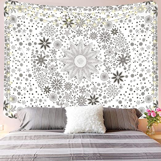 Simpkeely Daisy Medallion Tapestry, Cute Wall Hanging Black and White  Bohemian Sketched Floral Art, Boho Wall Décor for Dorm Bedroom Living Room  - ...