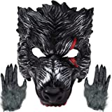 Realistic Werewolf Mask Big Bad Bloody Howling Wolf Costume with Bloodstains Include Gloves for Adult Halloween Dress Up. Bla