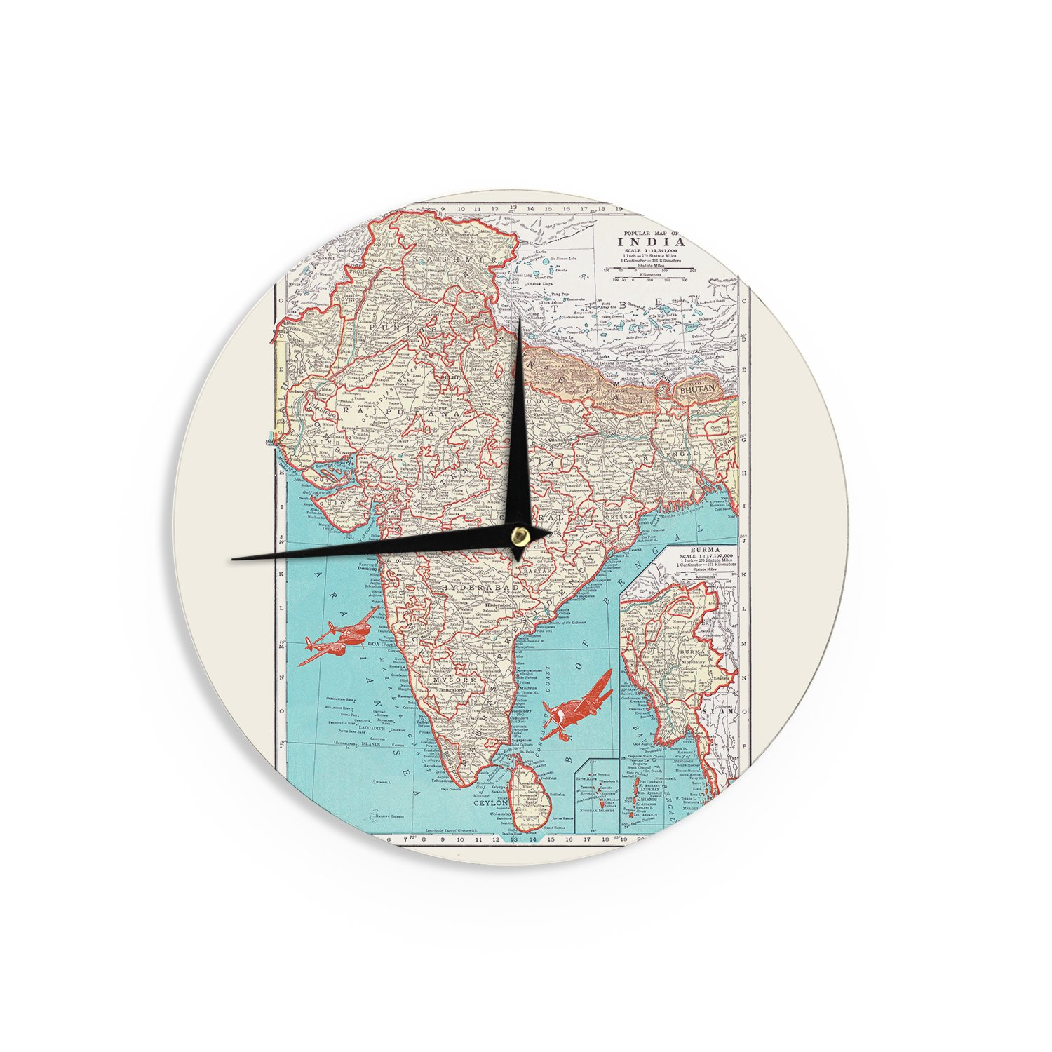 KESS InHouse Catherine Holcombe ''Travel To India'' Teal Red Wall Clock, 12''
