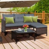 DORTALA 3-Piece Outdoor Rattan Sectional Sofa Set, Patio Wicker Rattan Conversation Furniture Set, Steel Frame & Seat…