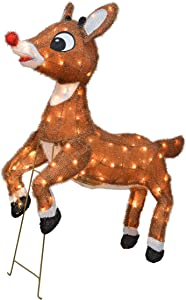 """TisYourSeason 3D Rudolph The Red-Nosed Reindeer 36"""" Animated Outdoor Christmas Decor Yard Art"""
