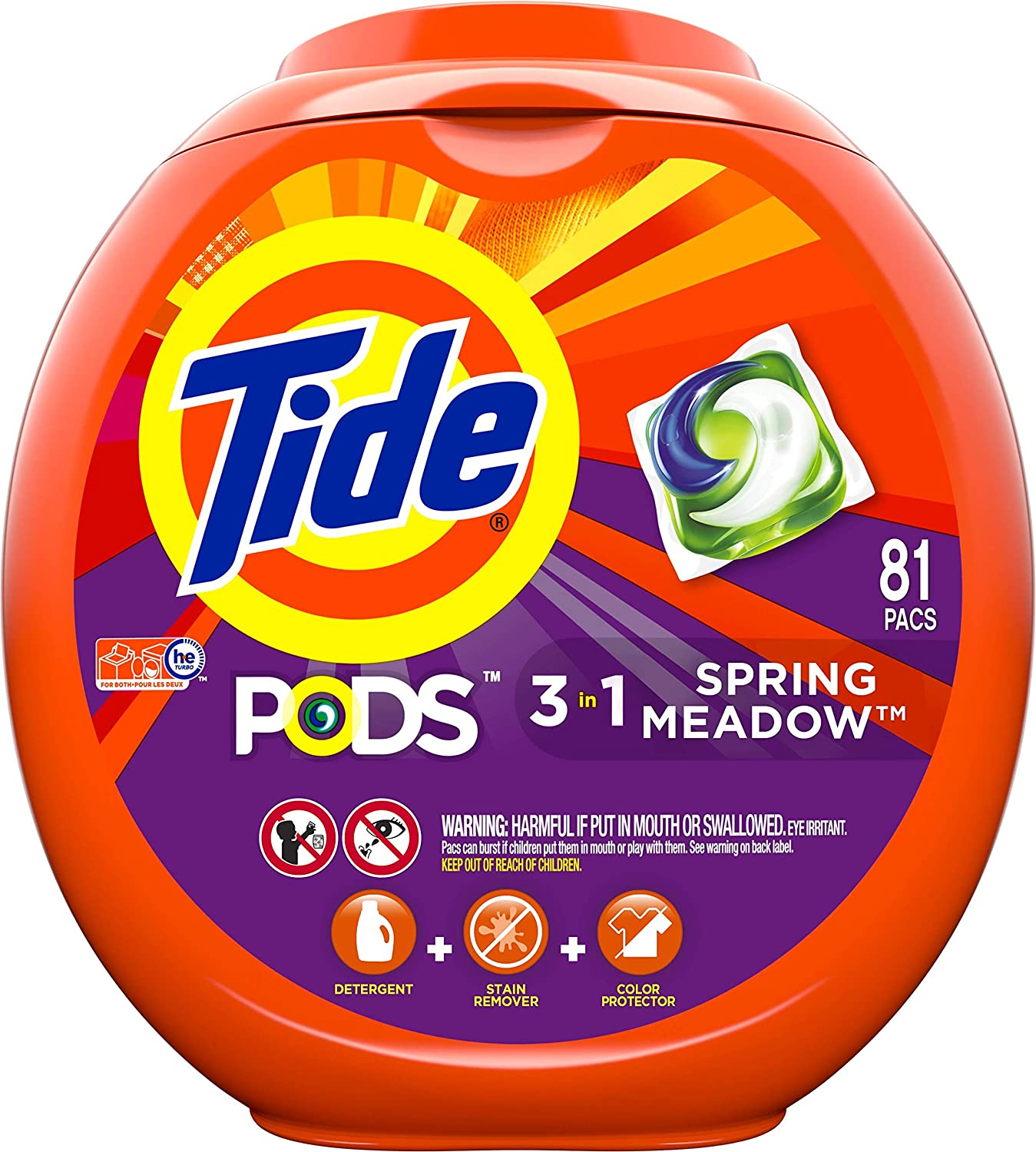 Tide Pods 3 in 1, Laundry Detergent Pacs, Spring Meadow Scent, 81 Count: Health & Personal Care