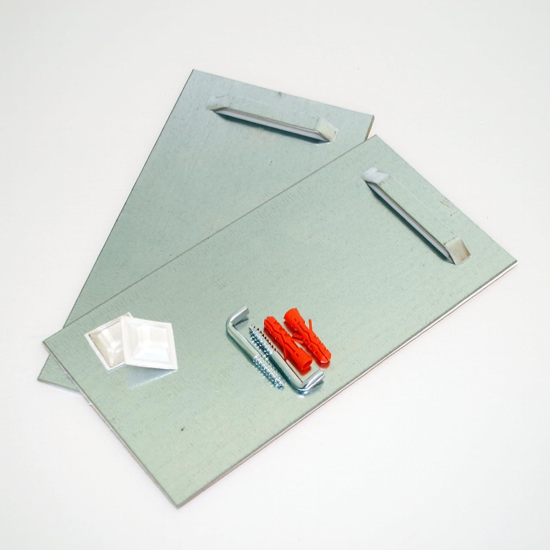 Hartschaum-Platten und Alu-Verbundplatten Klebebleche mit Winkelschrauben 2 Stk. Montageset selbstklebend 10cm x 20cm Aufh/ängeblech geeignet f/ür Spiegel Spiegelaufh/änger zum Aufh/ängen f/ür Spiegel und Wandbilder inkl