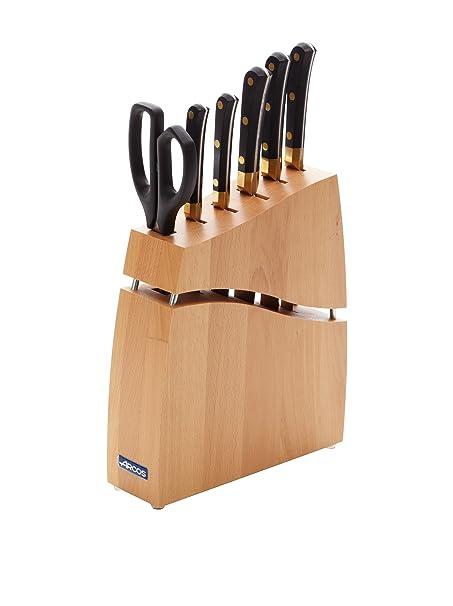Arcos Juego de Cocina 5 Cuchillos Y Tijera en Taco de Madera ...