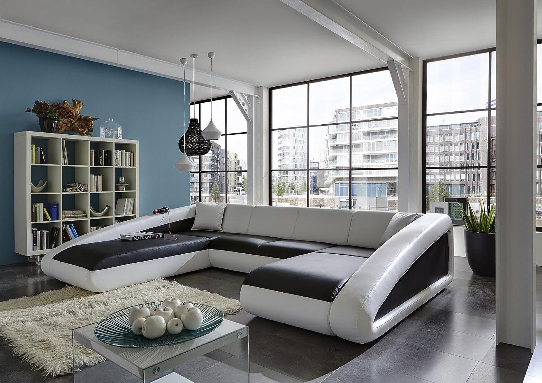 SAM® Sofa Garnitur schwarz / weiß / weiß Ciao 250 x 355 x 205 cm ...