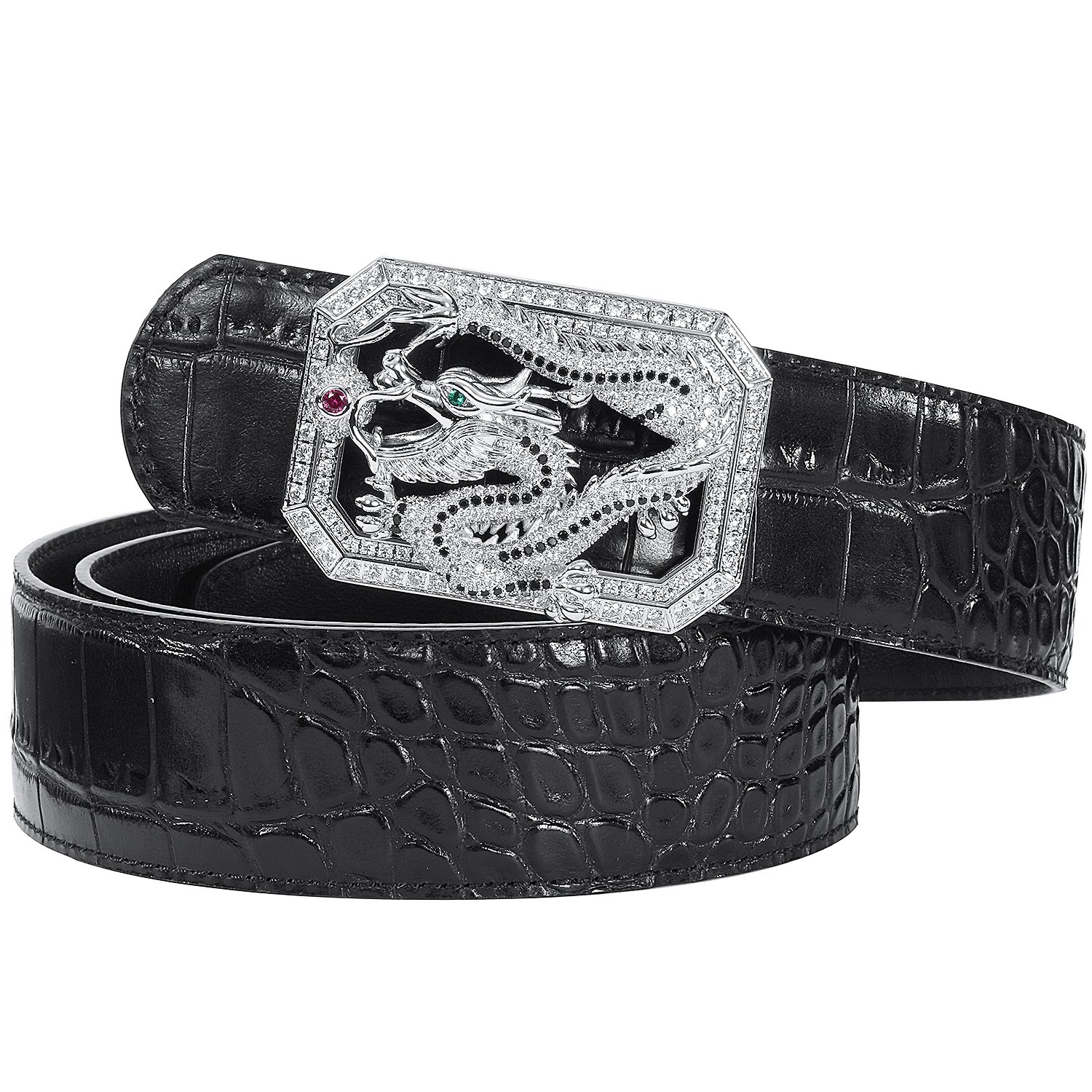 Men's Belts Luxury Genuine Leather Black Dress Belt for Men Dragon Plaque Buckle Alligator Pattern