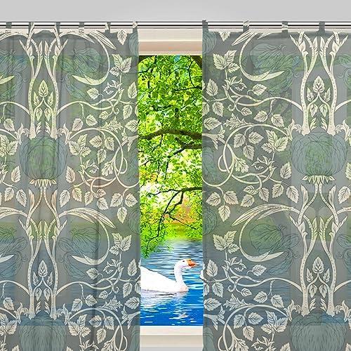 JSTEL Window Sheer Curtains 78 Inches Long 2 Panels William Morris Semi Scarf Valances Curtains Grommet Voile Drapes Gauze Curtains