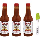 Tapatio Picante Hot Sauce Bundled with PrimeTime Direct Silicon Basting Brush in a PTD Sealed Bag, Salsa, 10 oz (Pack of 3)