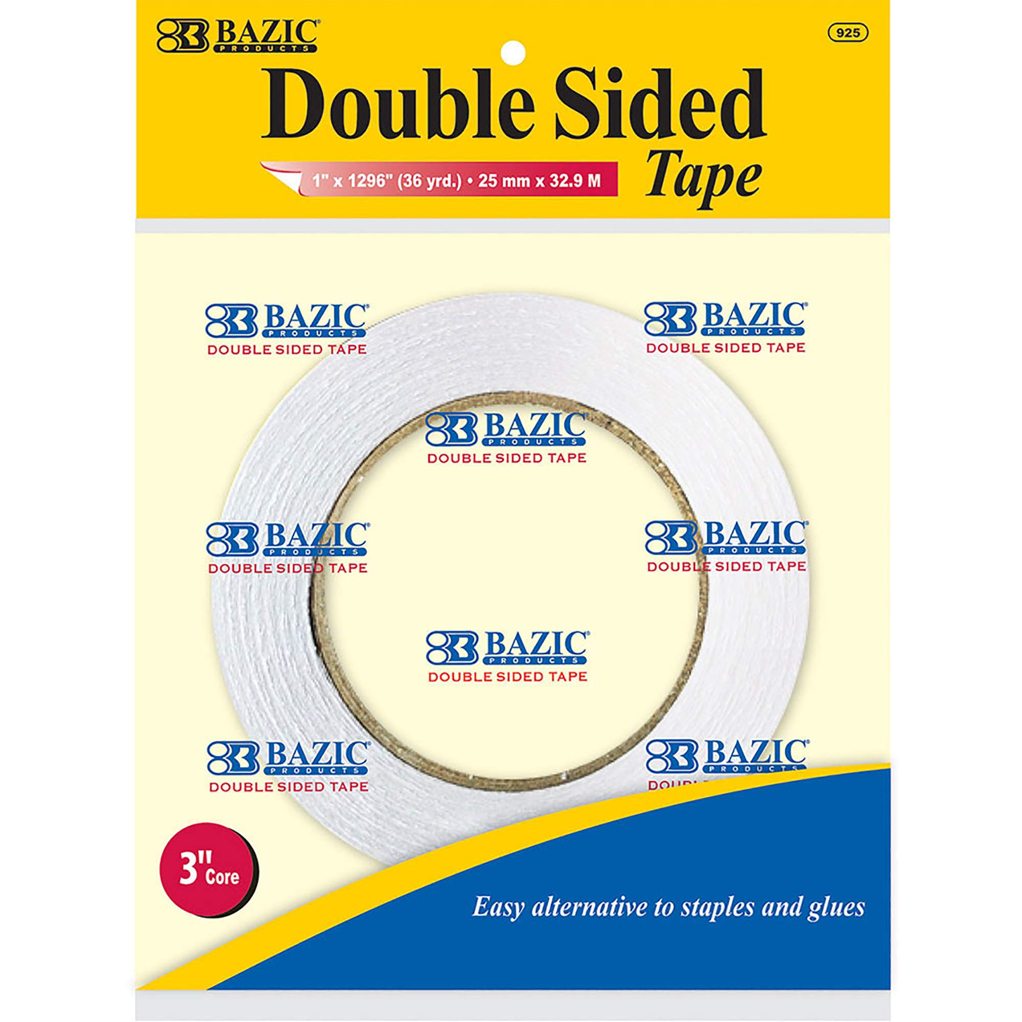 BAZIC 1'' X 36 Yard (1296'') Double Sided Tape (Box of 24) by B BAZIC PRODUCTS