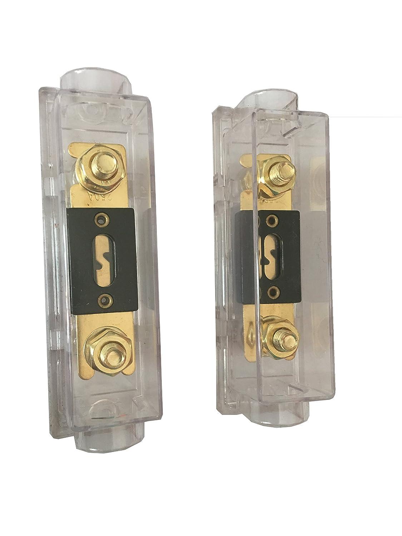 Paquete de 2 Portafusibles ANL KOLACEN ANL Fusible Chapado en Oro de 250 Amp