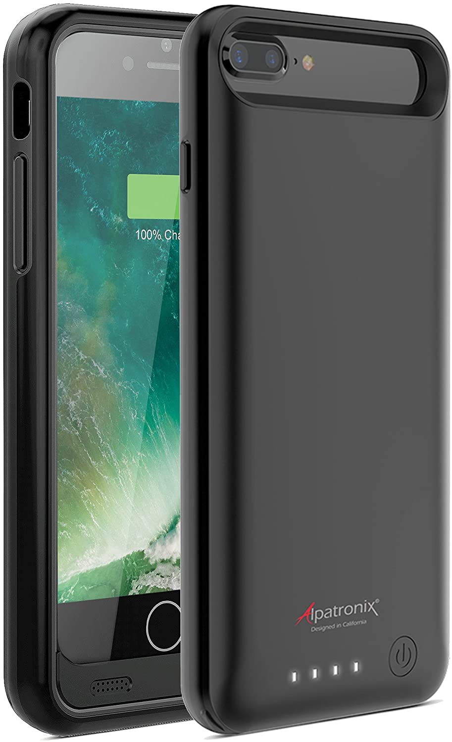 Alpatronix iPhone 8 Plus/7 Plus Battery Case, Slim Portable Protective Extended Charger Cover Compatible with iPhone 8 Plus & iPhone 7 Plus (5.5 inch) BX170plus - (Black)
