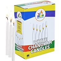 Ner Mitzvah White Chanukah Candles - Standard Size Fits Most Menorahs - Premium Quality Wax - 44 Count for All 8 Nights of Hanukkah