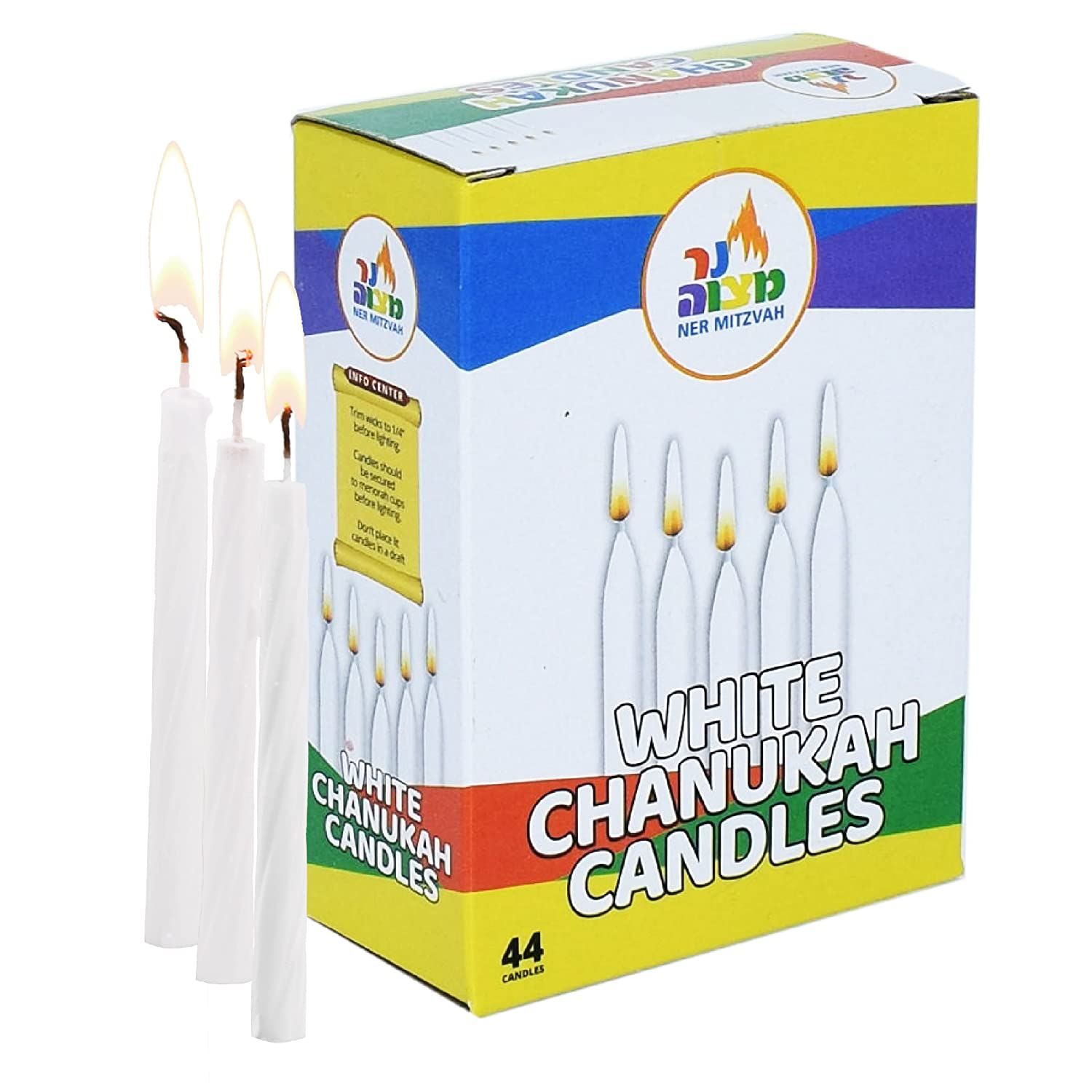 Ner Mitzvah White Chanukah Candles - Standard Size Fits Most Menorahs - Premium Quality Wax - 44 Count for All 8 Nights of Hanukkah AX-AY-ABHI-66345