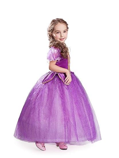 ELSA & ANNA® Princesa Disfraz Traje Parte Las Niñas Vestido (Girls Princess Fancy Dress) ES-FBA-RAP1 (6-7 Años, ES-RAP1)
