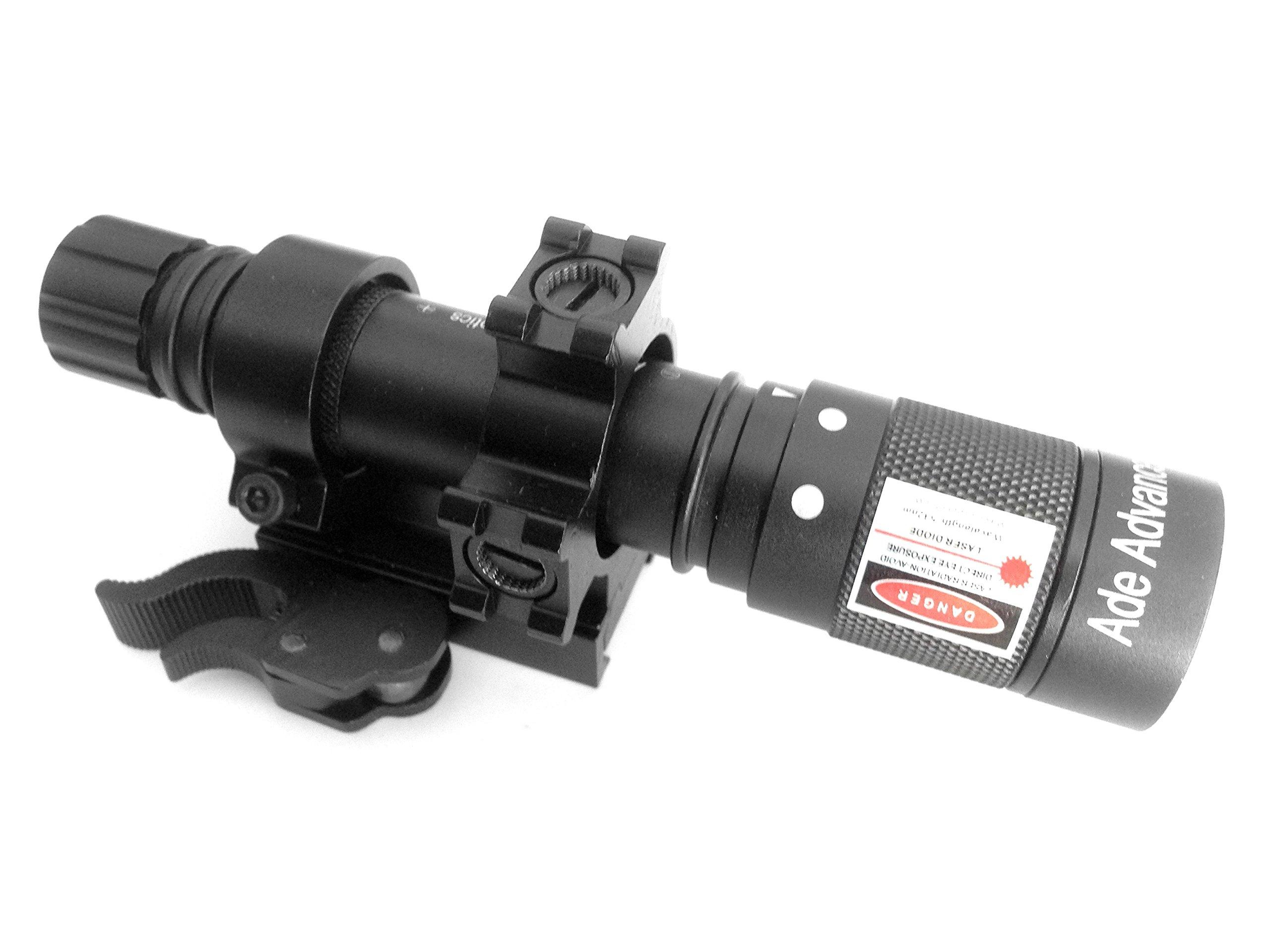 Ade Advanced Optics Adjustable Green Laser Flashlight Designator Illuminator Switch and QD Mount, Class IIIR laser product, <5mW power output by Ade Advanced Optics
