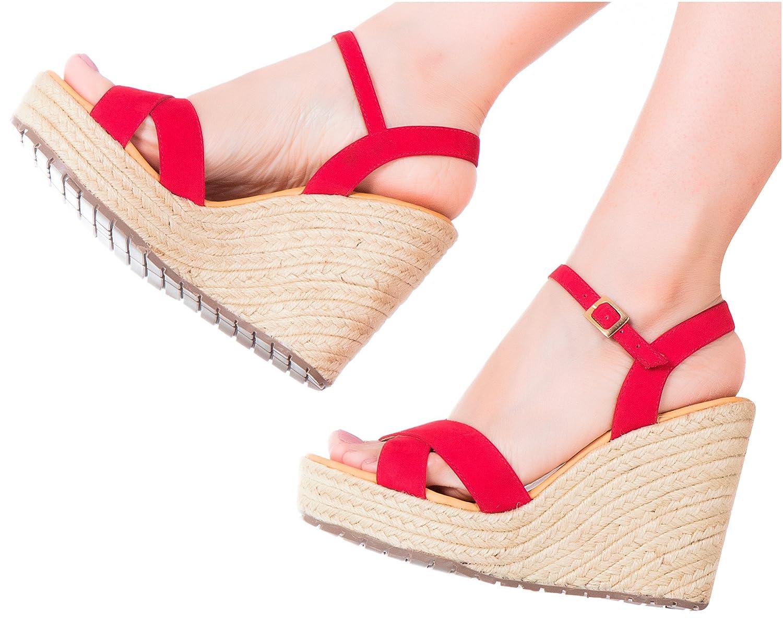 Vida Leather Women Ankle Tie Platform Espadrille Sandals | Sandalias de DAMA B0755MK3LQ 6 B(M) US|Red