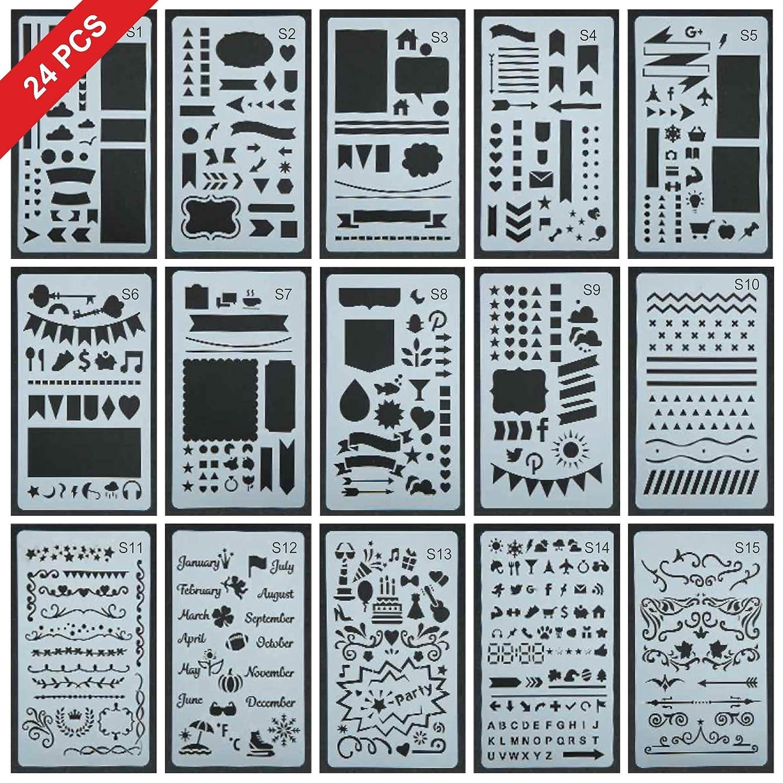24 Pcs Upgrade Journal Stencil Set Over 2400 Different Patterns