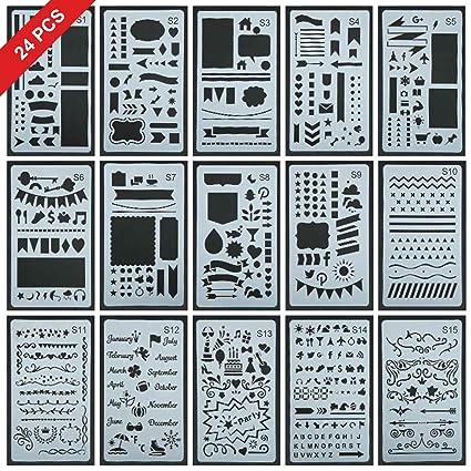 Amazon 40 Pcs Upgrade Journal Stencil SetOver 4000 Different Beauteous Different Patterns
