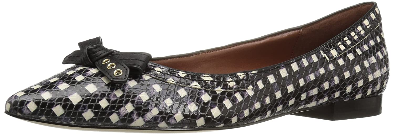 Cole Haan Women's Alice Bow Skimmer Pointed Toe Flat B01ITEJMH0 10 B(M) US Black/White Grid Print