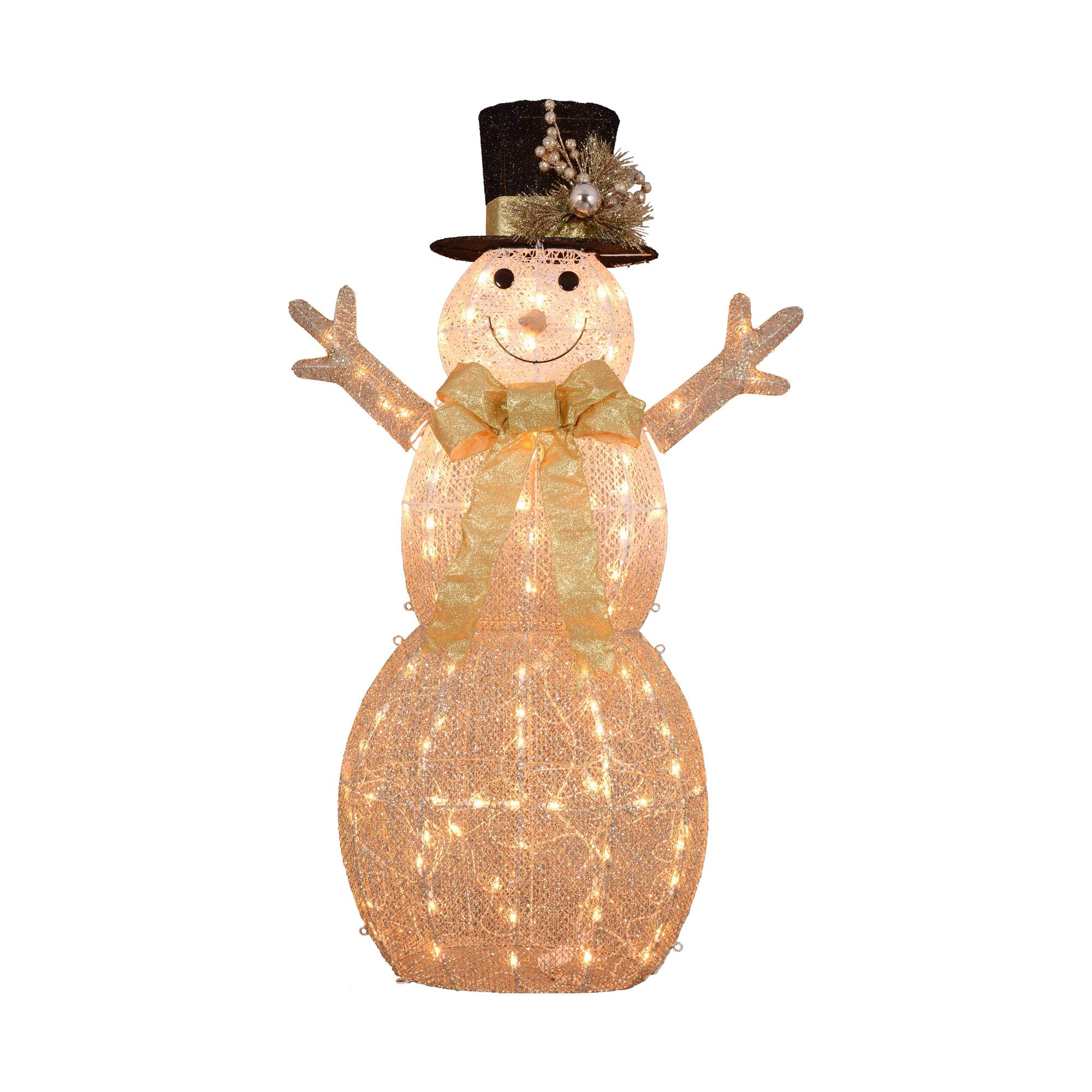 Northlight 52'' 3D Lighted Rattan Snowman in Top Hat Christmas Outdoor Decoration