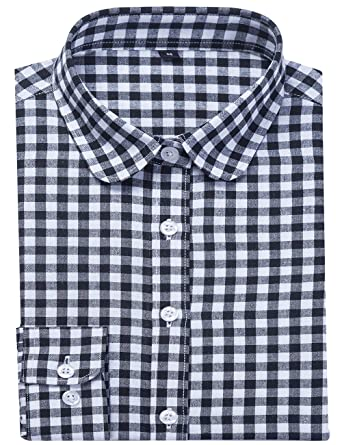 e4d3466f DOKKIA Women's Casual Blouses Long Sleeve Plaid Checkered Button Down Flannel  Shirts (Small, Black