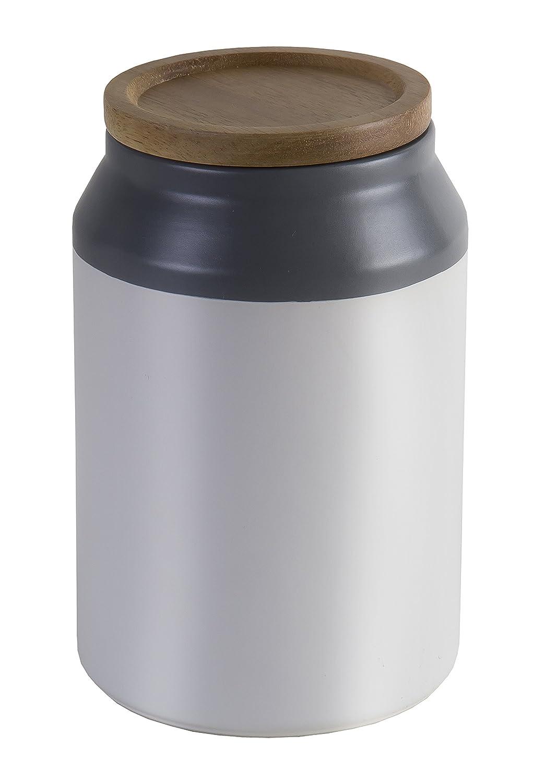 Jamie Oliver Food Storage Jar with Wooden Lid, Medium Ceramic Kitchen Container, Gray