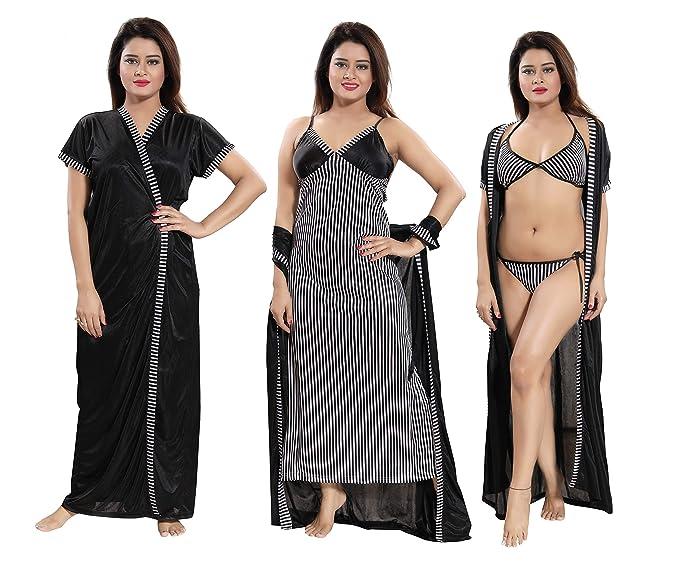 TUCUTE Women s Satin Nightwear Set of 4 Pcs Nighty 609226f20