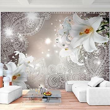 Fototapete Lilien Blumen Braun 396 x 280 cm Vlies Wand Tapete ...