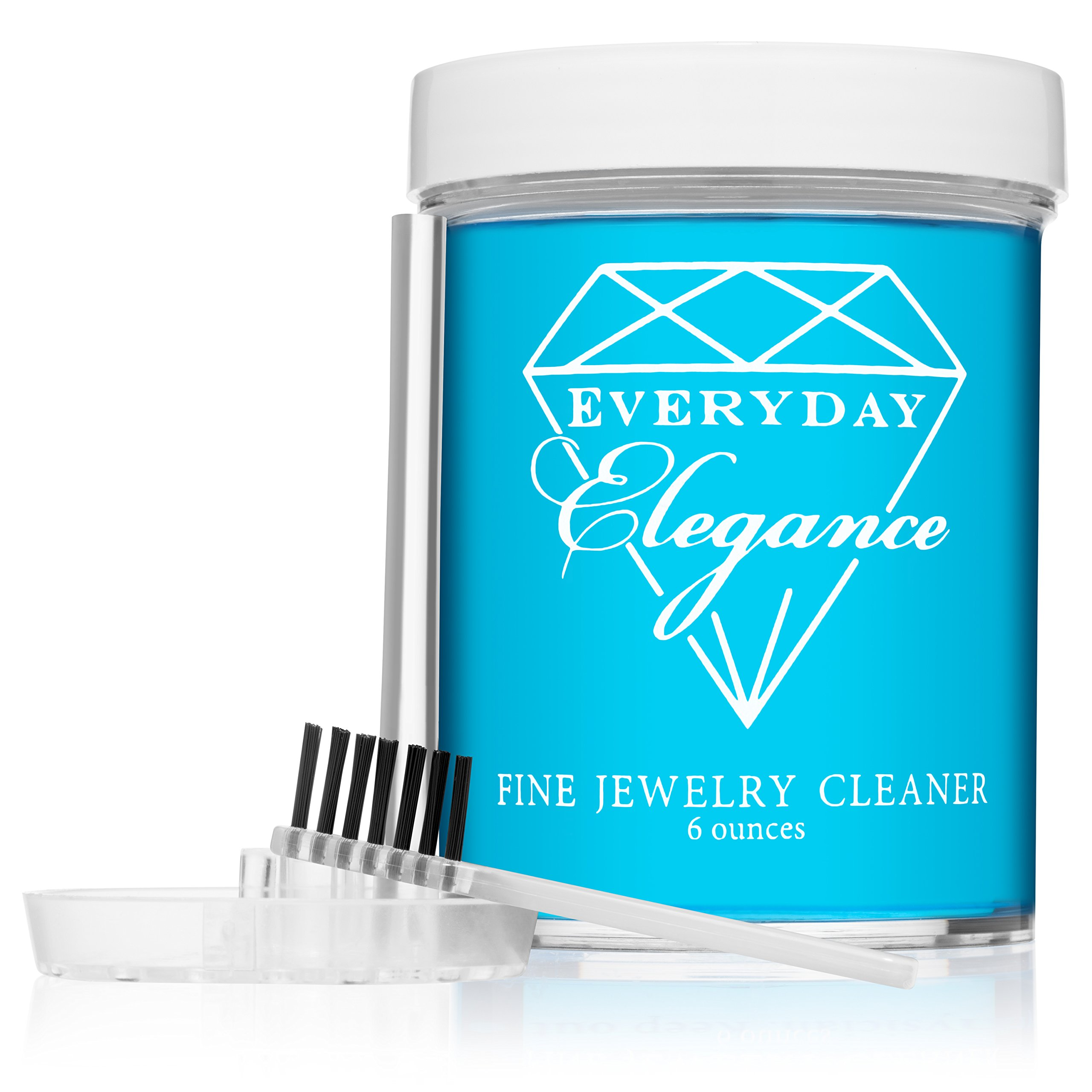 Everyday Elegance | Fine Jewelry Cleaner | Solution to Clean Gold, Platinum and Diamonds with Brush & Tray | 6 Ounce Jar