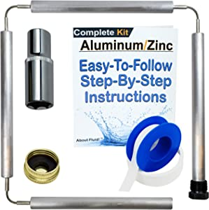 """About Fluid Aluminum/Zinc Flexible Anode Rod Complete Kit For Water Heaters   44"""" Long   Get Rid Of Rotten Egg Smelling Hot Water!   Full-Roll Teflon Tape   1-1/16"""" Socket Included (Complete Kit)  """
