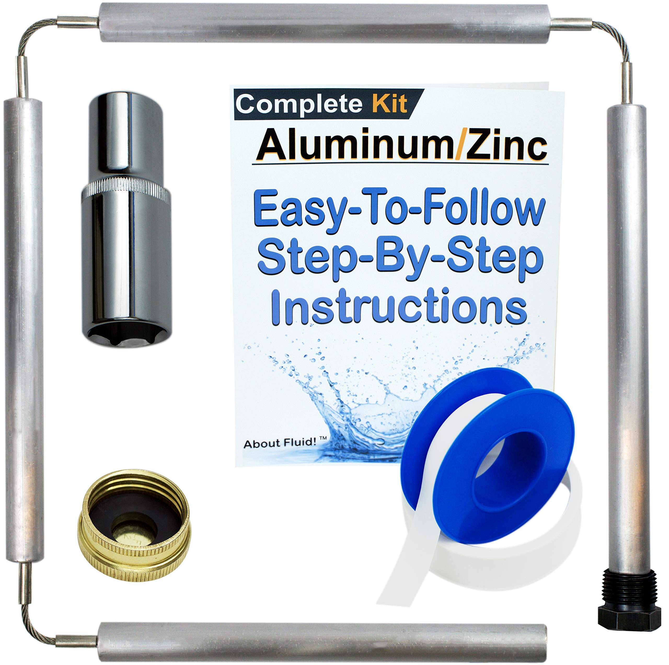 About Fluid Aluminum/Zinc Flexible Anode Rod Complete Kit For Water Heaters | 44'' Long | Get Rid Of Rotten Egg Smelling Hot Water! | Full-Roll Teflon Tape | 1-1/16'' Socket Included (Complete Kit) | by About Fluid