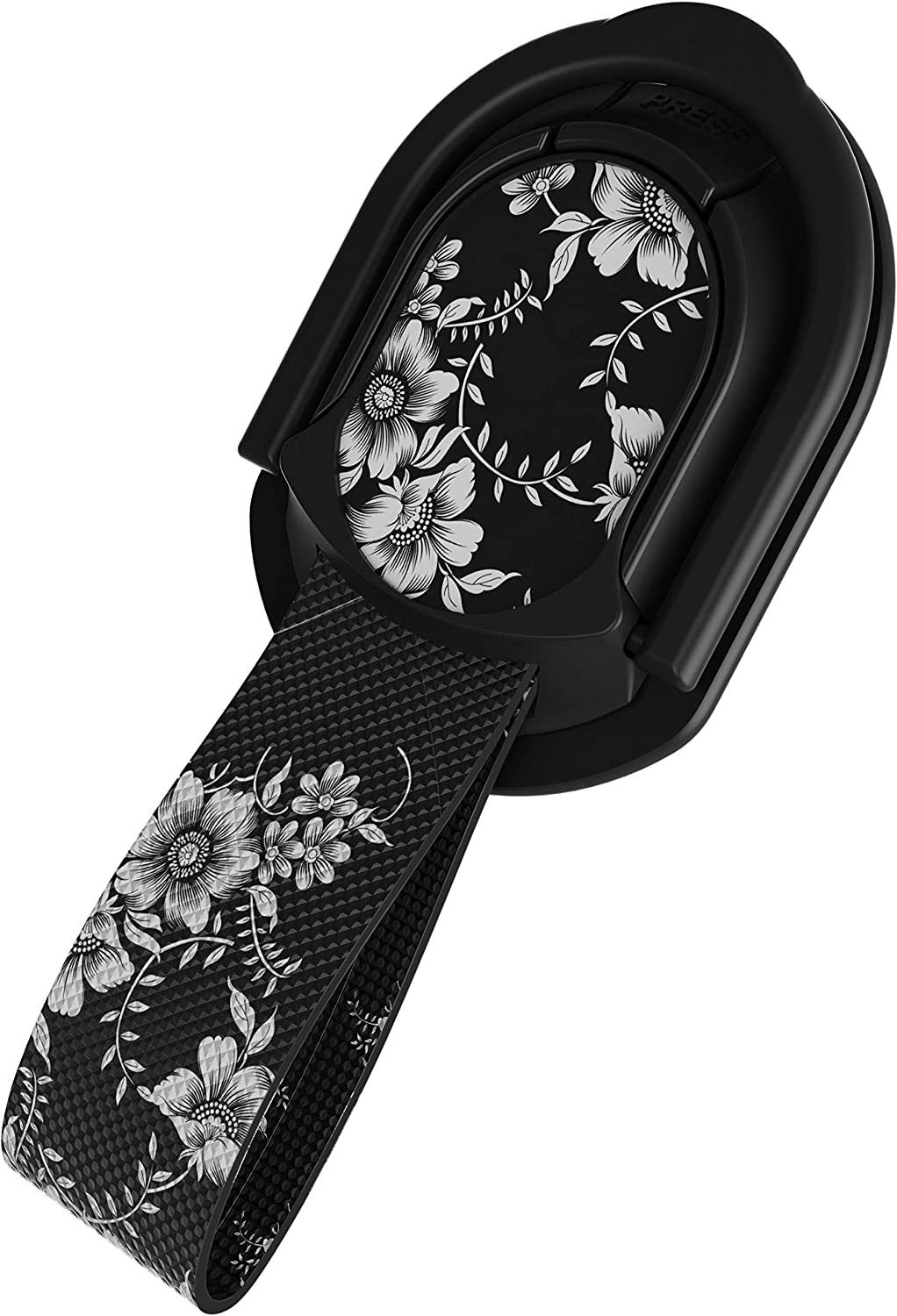 Ghostek Loop Magnetic Cell Phone Finger Holder Strap with Kickstand for Women Girls Trendy Swappable Designs Handy Clumsy Proof Grip Handle & Magnet Mount Wireless Charging Compatible - (Floral Black)