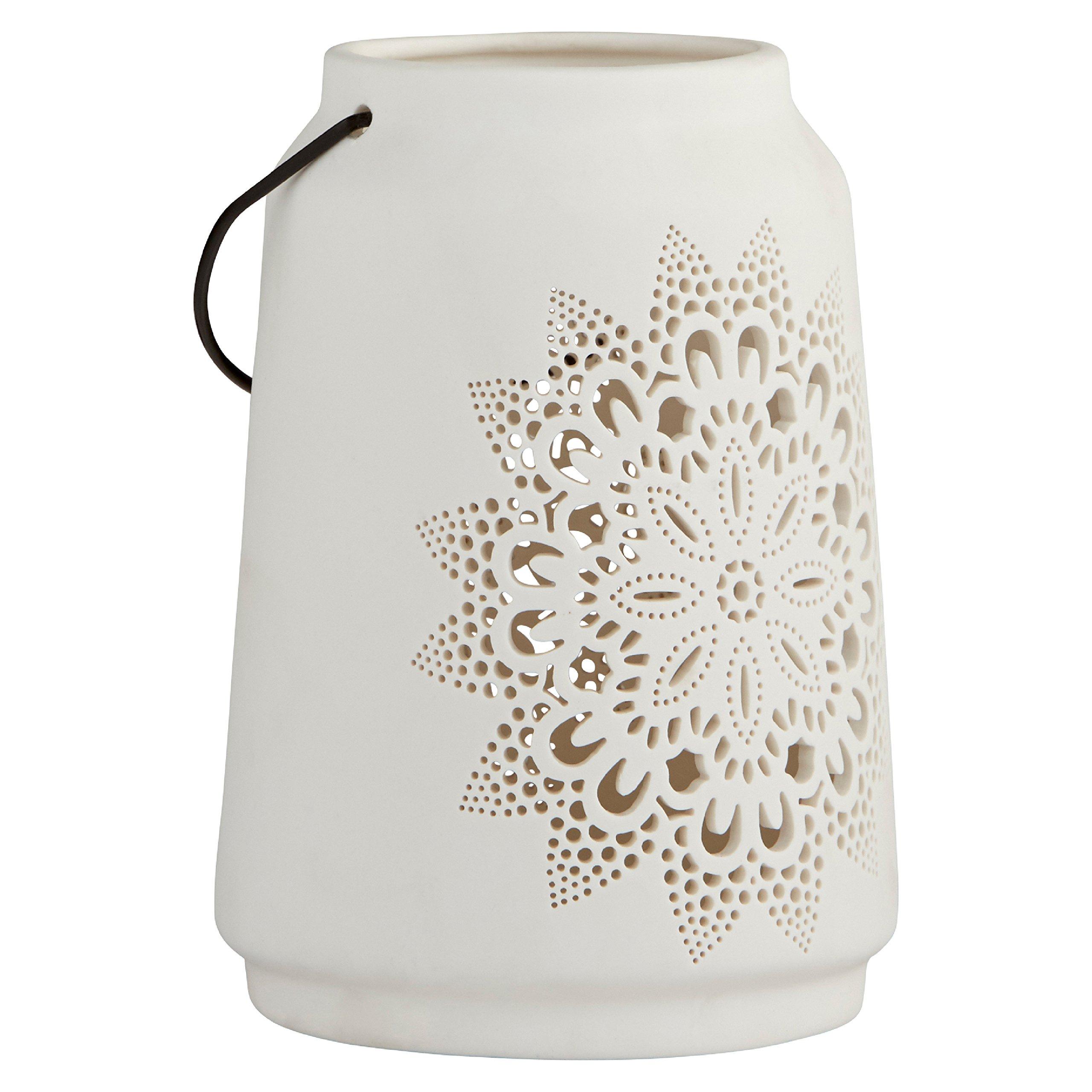 Stone & Beam Modern Farmhouse Die Cut Lantern, 7''H, White