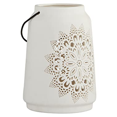 Stone & Beam Modern Farmhouse Cermaic Die Cut Home Décor Candle Lantern - 7 Inch, White