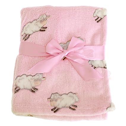 Snuggle Baby - Mantita/Arrullo diseño de ovejas para bebés/recién nacidos (100 × 75 cm) (Rosa Baby)