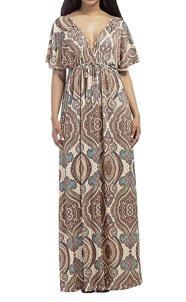 OUFour Verano Talla Grande Maxi Vestido con Vendaje Mujer Bohemia Nacional Impresion Vestido de Partido Cóctel