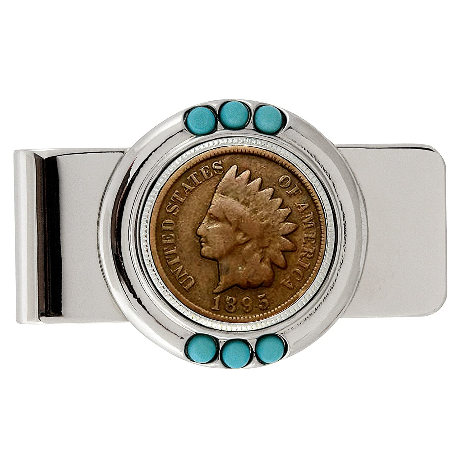 Smithsonian Institution 1800s Indian Penny Turquoise Coin Money Clip