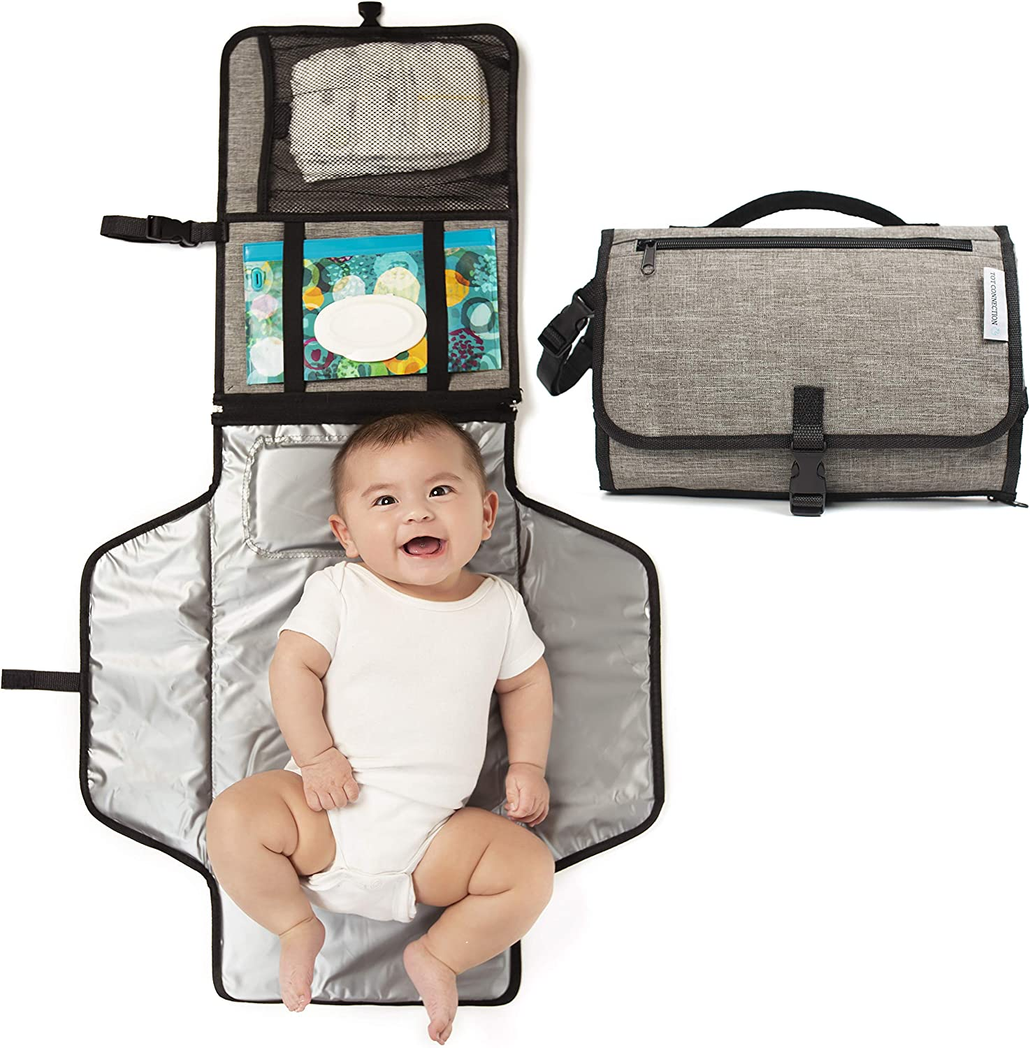 Portable Baby Changing Pad, Unisex Waterproof Diaper Bag With Built-in Head Cushion, Travel Changing Station for Toddlers Infants and Newborns